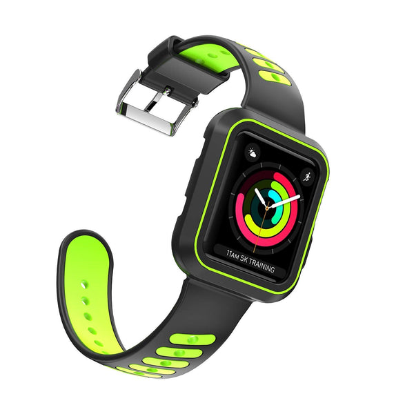 Nylon Sport Loop Replacement Strap for iWatch Apple Watch Series 3,Series 2, Series1,Hermes,Nike+- black+green - www.coverlabusa.com