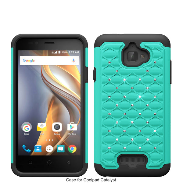 coolpad catalyst case cover - rhinestone teal/black - www.coverlabusa.com