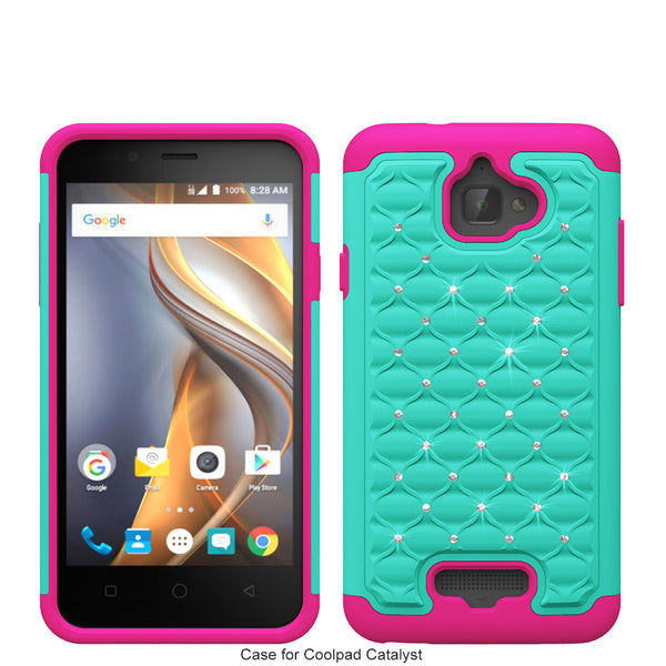 coolpad catalyst case cover - rhinestone teal/hot pink - www.coverlabusa.com