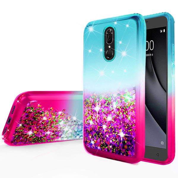 glitter phone case for nokia 3.1 plus - teal/pink gradient - www.coverlabusa.com