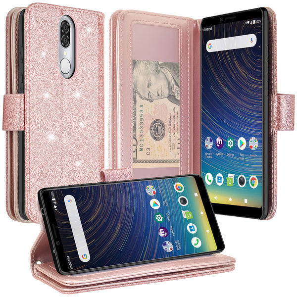 Coolpad Legacy Glitter Wallet Case - Rose Gold - www.coverlabusa.com