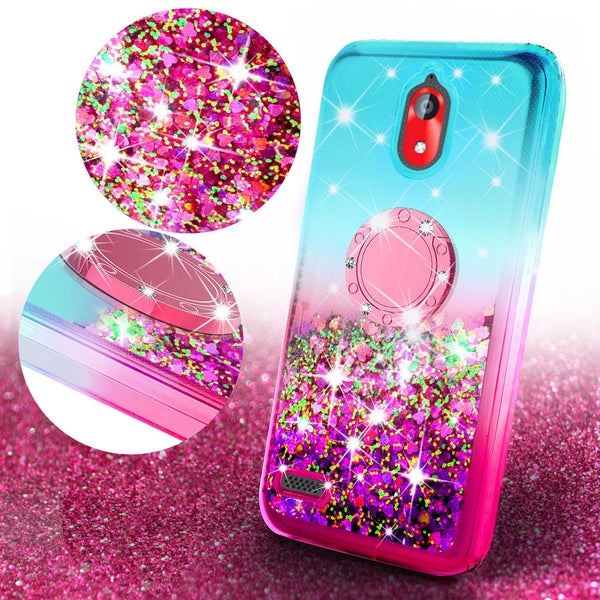 glitter ring phone case for coolpad legacy go - teal/pink gradient - www.coverlabusa.com