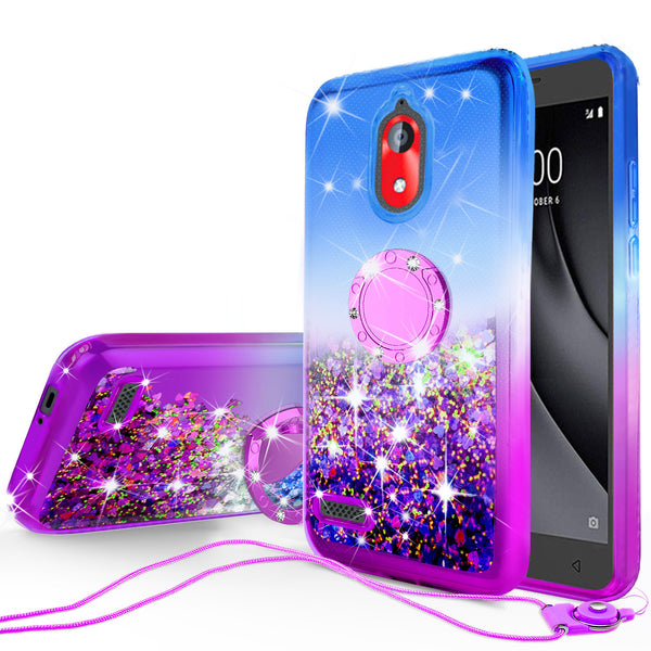 glitter ring phone case for coolpad legacy go - blue/purple gradient - www.coverlabusa.com
