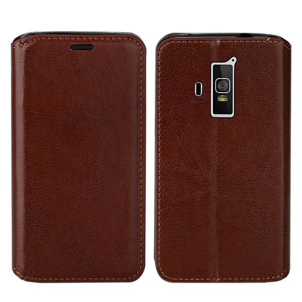 Coolpad Rogue PU leather wallet case - brown - www.coverlabusa.com