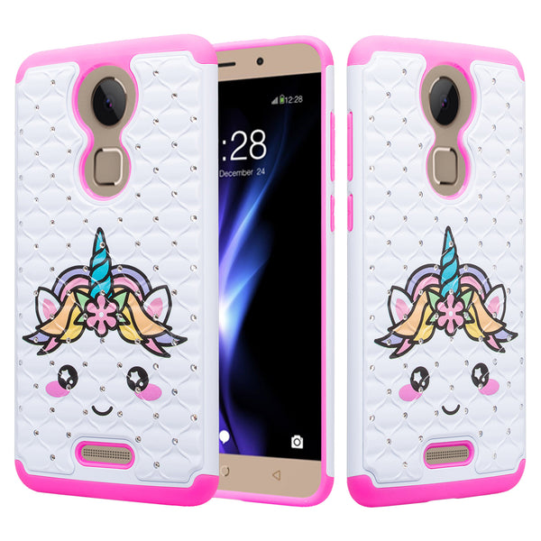 coolpad revvl plus case crystal rhinestone - white unicorn - www.coverlabusa.com