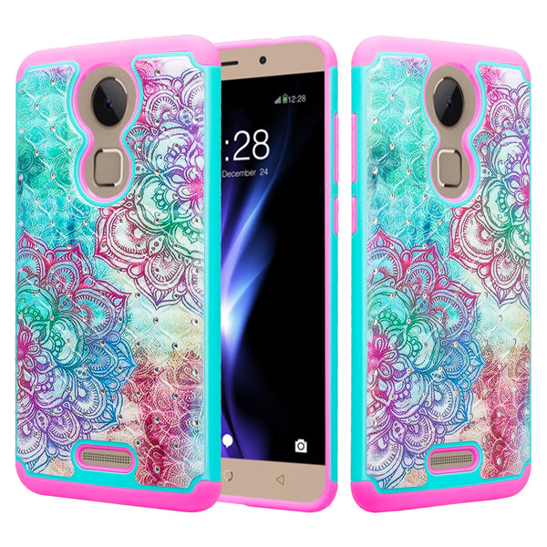coolpad revvl plus case crystal rhinestone - teal flower - www.coverlabusa.com