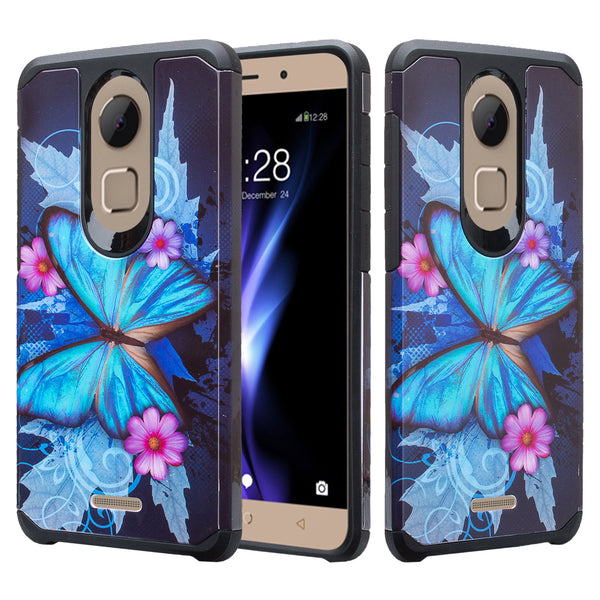 coolpad revvl plus hybrid case - blue butterfly - www.coverlabusa.com