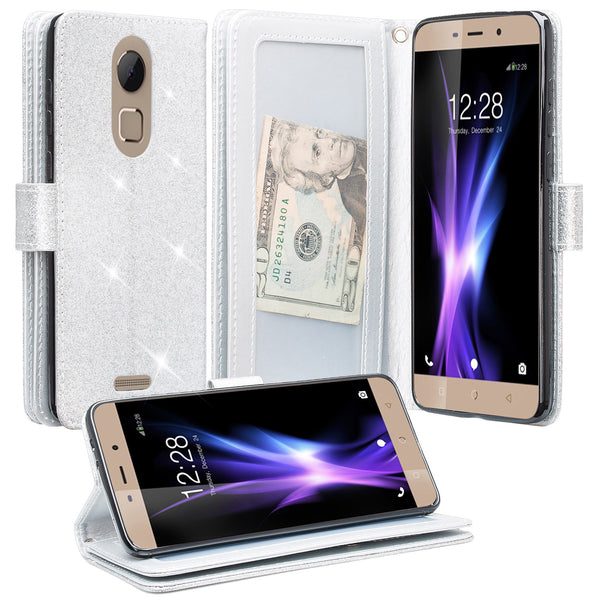 Coolpad REVVL Plus Glitter Wallet Case - Silver - www.coverlabusa.com