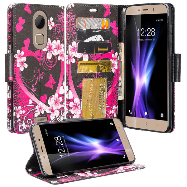 Coolpad REVVL Plus Wallet Case - Heart Butterfles - www.coverlabusa.com