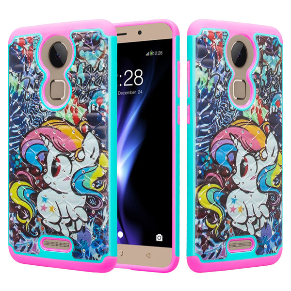 coolpad revvl plus case crystal rhinestone - rainbow unicorn - www.coverlabusa.com