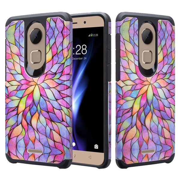 coolpad revvl plus hybrid case - rainbow flower - www.coverlabusa.com