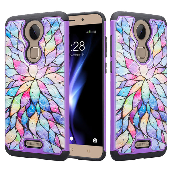 coolpad revvl plus case crystal rhinestone - rainbow flower - www.coverlabusa.com