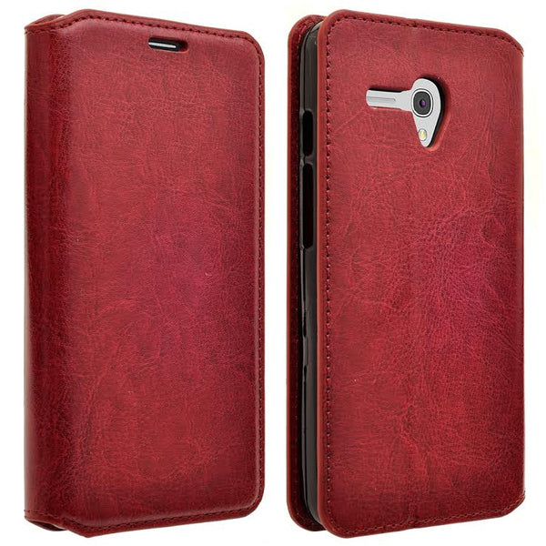 Alcatel Pixi Glory, Flint Case, Fierce XL, Jitterbug Smart Wallet Case - Burgundy - WWW.COVERLAB.USA