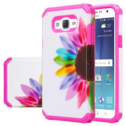 Galaxy J7 Case, Samsung Galaxy J7 [Shock Absorption /Impact Resistant] Hybrid Dual Layer Armor Defender Protective Case Cover for Galaxy J7 (Boost Mobile,Virgin,MetroPcs,TMobile), Sun Flower, www.coverlabusa.com