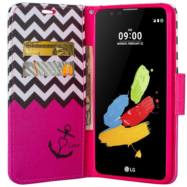 check out 5ae33 3ce97 LG Stylo 2 Case, LG Stylo 2 V Wallet Case [Kickstand] Pu Leather Wrist  Strap Wallet Case w/ ID & Card Slots & Pocket - Hot Pink Anchor