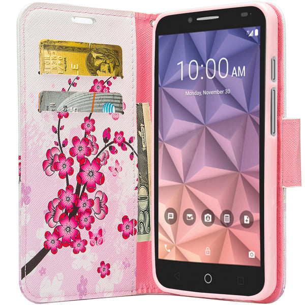 Alcatel Pixi Glory, Flint Case, Fierce XL, Jitterbug Smart Wallet Case - cherry - WWW.COVERLAB.USA