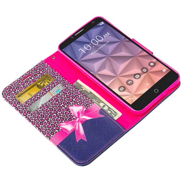 Alcatel Pixi Glory, Flint Case, Fierce XL, Jitterbug Smart Wallet Case - cheetah - WWW.COVERLAB.USA