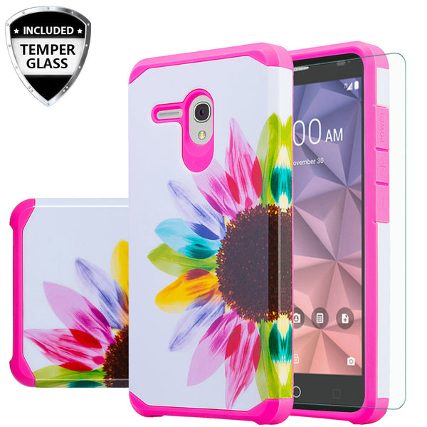 Alcatel Pixi Glory Case, Flint, Fierce XL, Jitterbug Smart, Slim Hybrid Dual Layer Case - vivid sunflower - www.coverlabusa.com