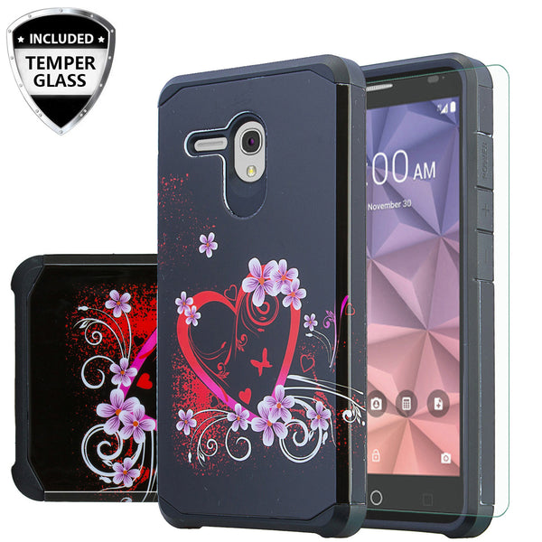 Alcatel Pixi Glory Case, Flint, Fierce XL, Jitterbug Smart, Slim Hybrid Dual Layer Case - heart butterfly - www.coverlabusa.com