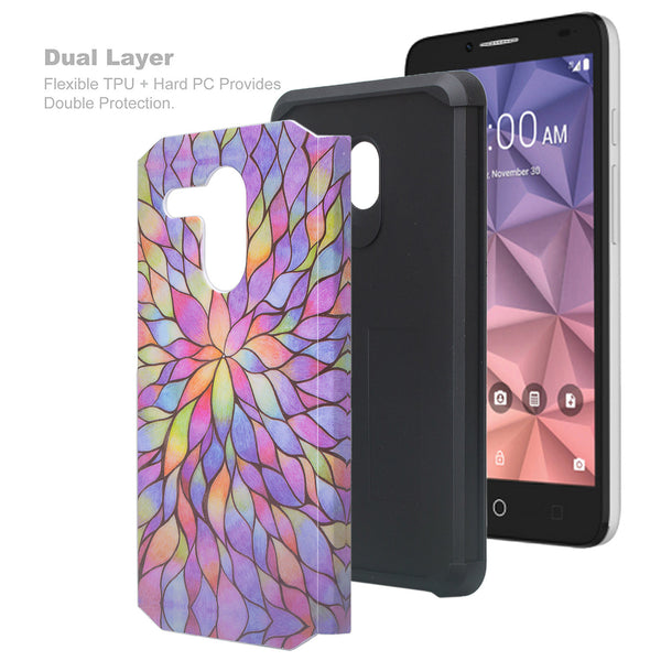 Alcatel Pixi Glory Case, Flint, Fierce XL, Jitterbug Smart, Slim Hybrid Dual Layer Case - rainbow flower - www.coverlabusa.com