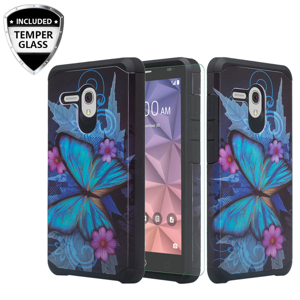 Alcatel Pixi Glory Case, Flint, Fierce XL, Jitterbug Smart, Slim Hybrid Dual Layer Case - blue butterfly - www.coverlabusa.com