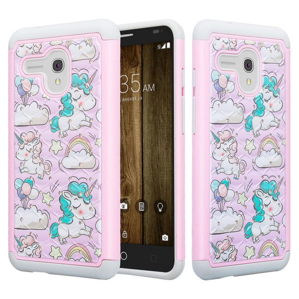 alcatel fierce xl case crystal rhinestone - pink unicorn - www.coverlabusa.com