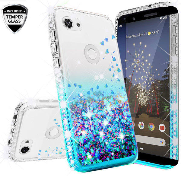 clear liquid phone case for google pixel 3a xl - teal - www.coverlabusa.com