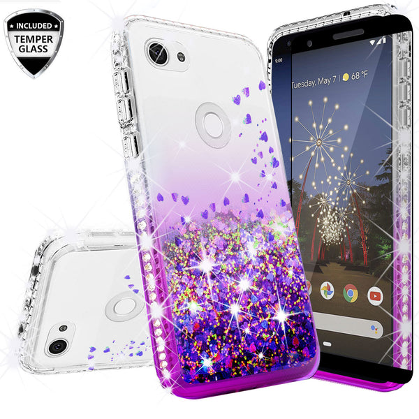 clear liquid phone case for google pixel 3a xl - purple - www.coverlabusa.com