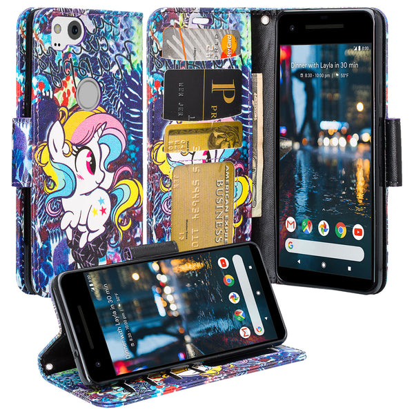 Google Pixel 2 Wallet Case - Rainbow Unicorn - www.coverlabusa.com
