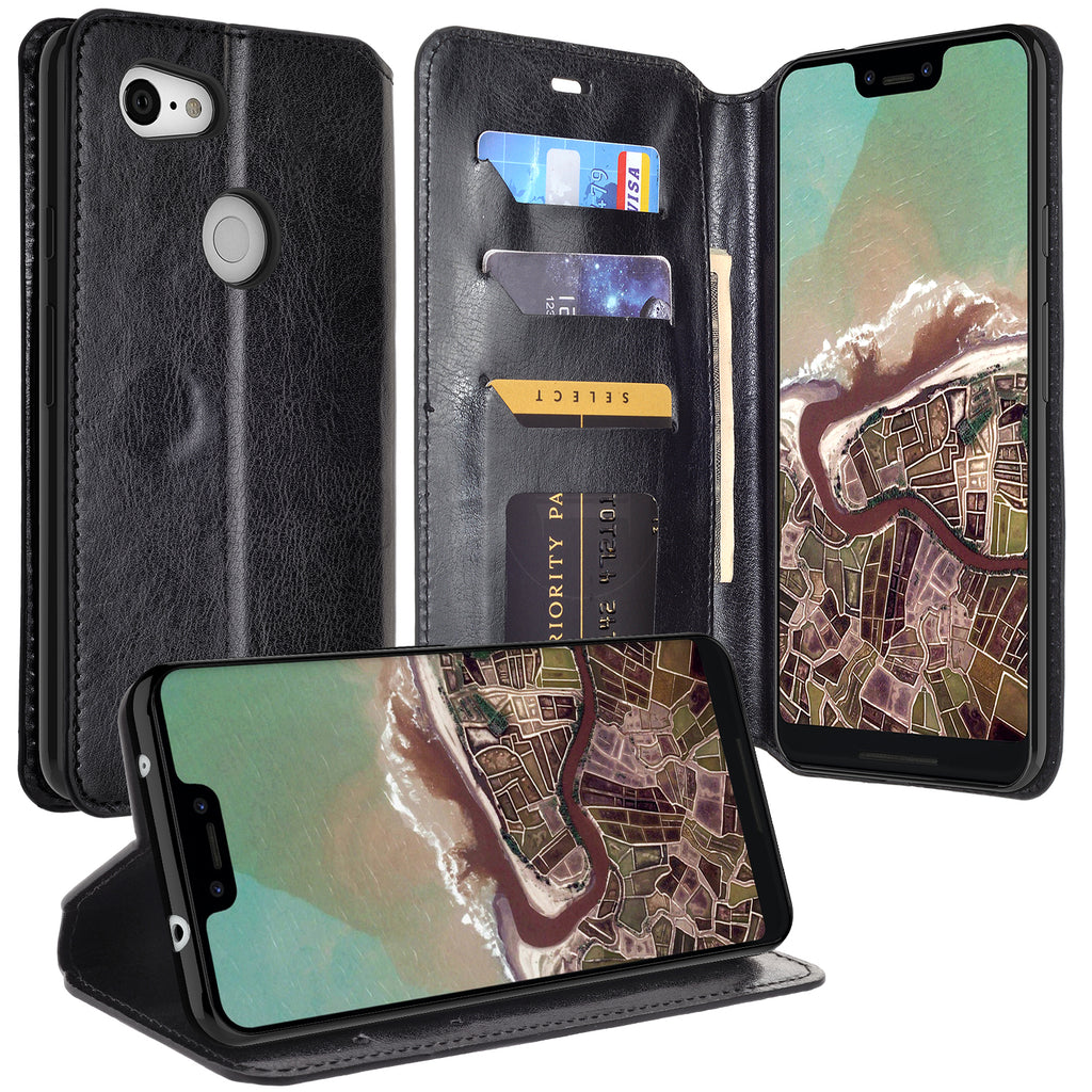 quality design 5bae1 07820 Google Pixel 3a XL Case, Pixel 3a XL Wallet Case, Pu Leather Wallet Case  [Kickstand] with ID & Credit Card Slots for Pixel 3a XL - Black