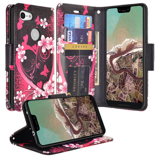 google pixel 3a wallet case - heart butterflies - www.coverlabusa.com