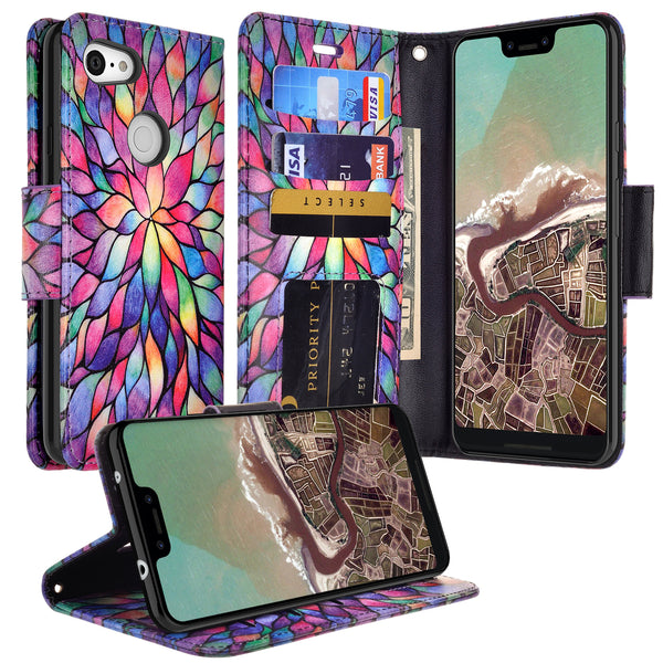 google pixel 3a xl wallet case - rainbow flower - www.coverlabusa.com