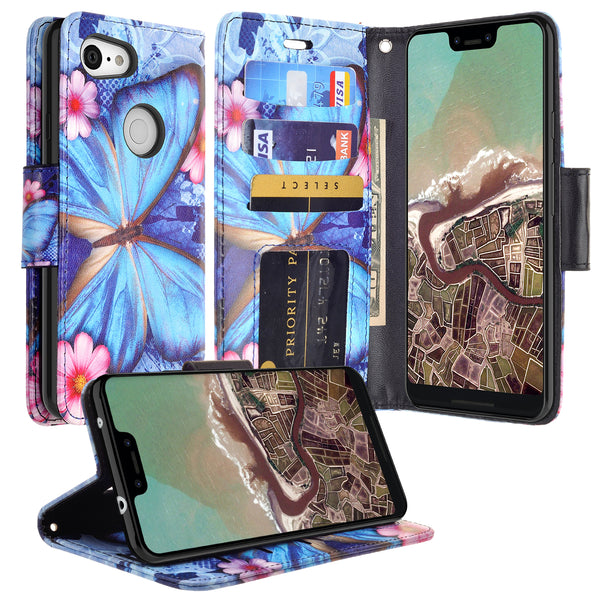 google pixel 3a wallet case - blue butterfly - www.coverlabusa.com
