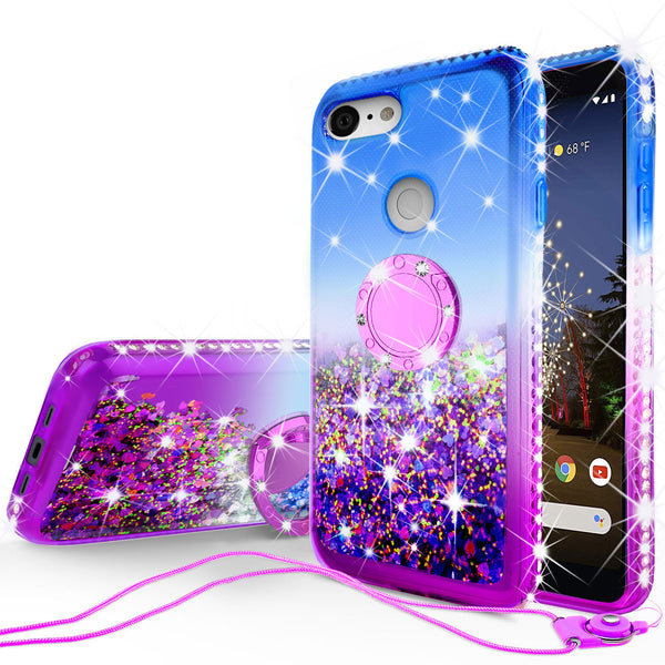 glitter phone case for google pixel 3a xl - blue/purple gradient - www.coverlabusa.com