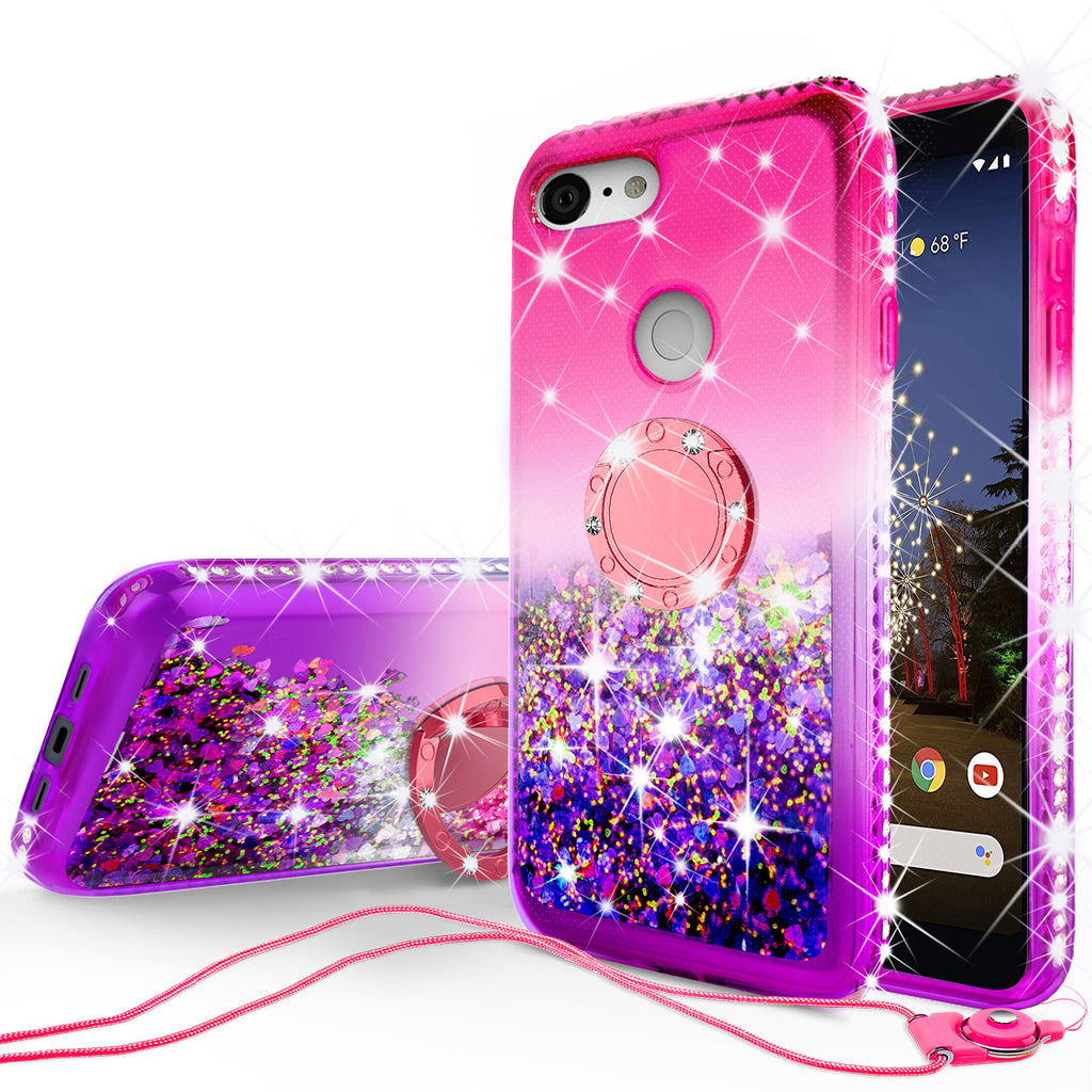 glitter phone case for google pixel 3a xl - hot pink/purple gradient - www.coverlabusa.com