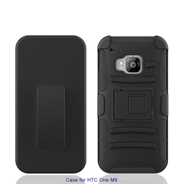 HTC One M9 holster shell case - black - www.coverlabusa.com