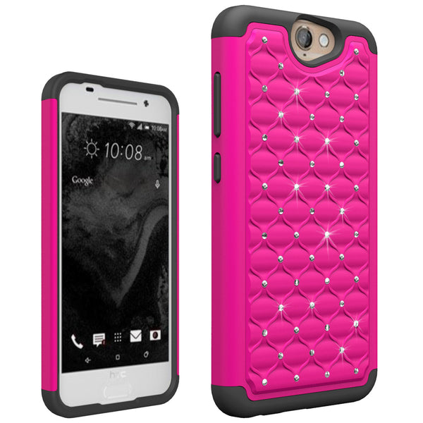 HTC One A9 Rhinestone Case - Hot Pink/Black - www.coverlabusa.com
