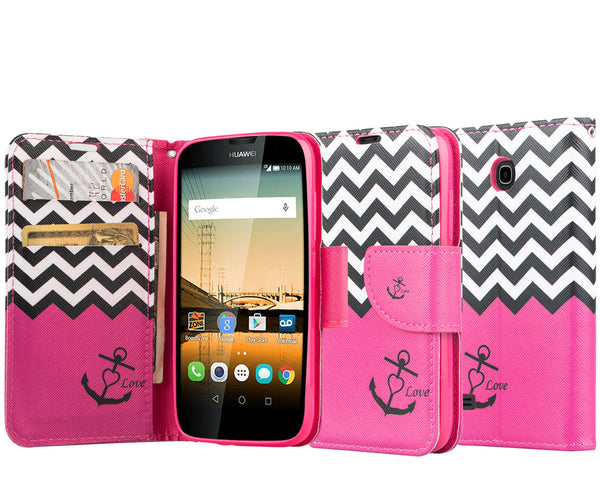 Huawei Union Wallet Case [Card Slots + Money Pocket + Kickstand] and Strap - Hot Pink Anchor