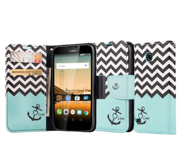 Huawei Union Wallet Case [Card Slots + Money Pocket + Kickstand] and Strap - Teal Anchor