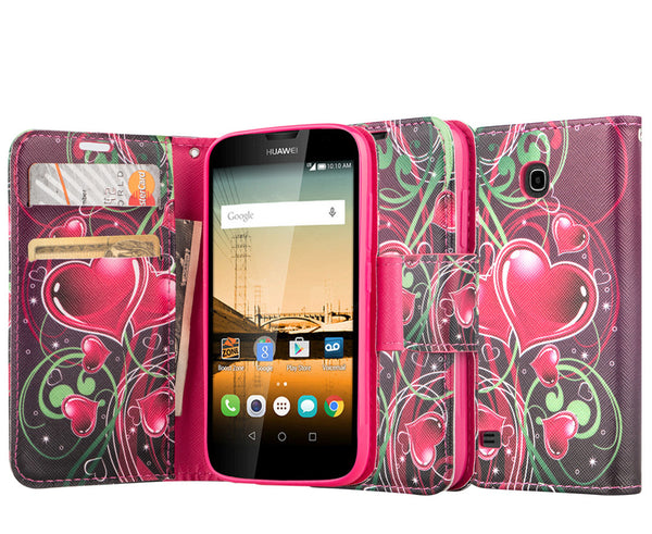 Huawei Union Wallet Case [Card Slots + Money Pocket + Kickstand] and Strap - Lily Pedals