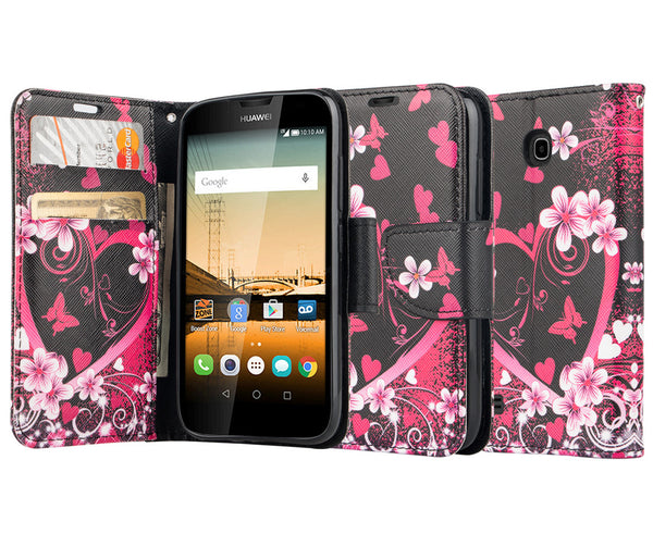 Huawei Union Wallet Case [Card Slots + Money Pocket + Kickstand] and Strap - Heart Butterflies