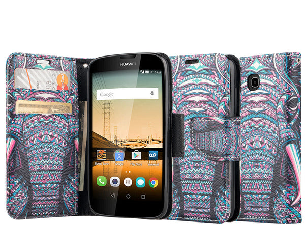 Huawei Union Wallet Case [Card Slots + Money Pocket + Kickstand] and Strap - Tribal Elephant