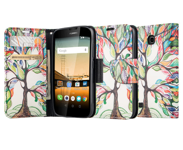 Huawei Union Wallet Case [Card Slots + Money Pocket + Kickstand] and Strap - Colorful Tree