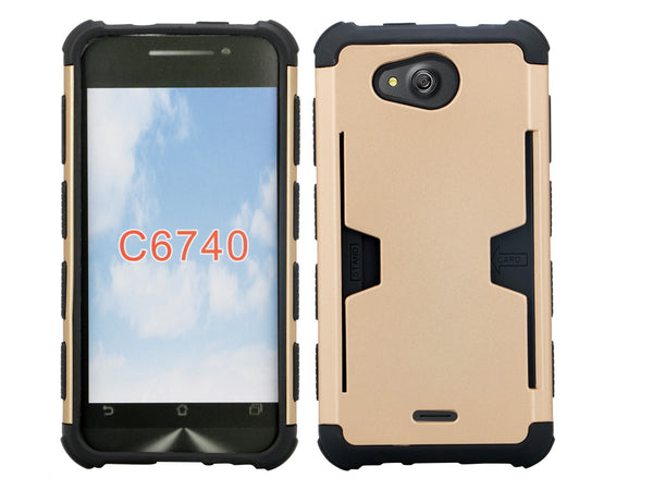Kyocera Hydro Wave case - gold hybrid with card slot - www.coverlabusa.com