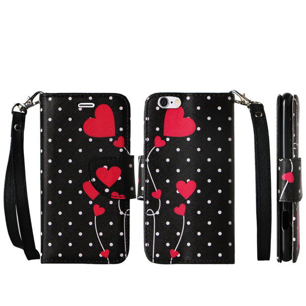 iphone 6 case, iphone 6 wallet case - polka dot hearts - www.coverlabusa.com