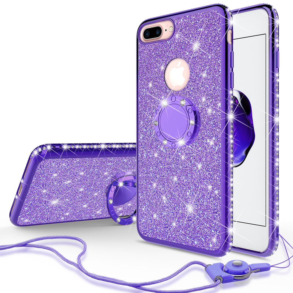 reputable site 6127b b86b7 Apple iPhone 8 Plus Case, Glitter Cute Phone Case Girls with  Kickstand,Bling Diamond Rhinestone Bumper Ring Stand Sparkly Luxury Clear  Thin Soft ...