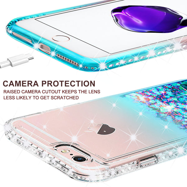 clear liquid phone case for apple iphone 8 - teal - www.coverlabusa.com