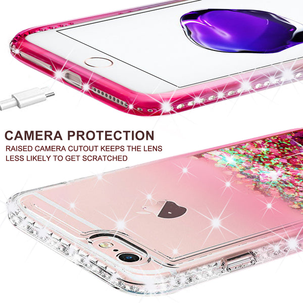 clear liquid phone case for apple iphone 7 plus - hot pink - www.coverlabusa.com