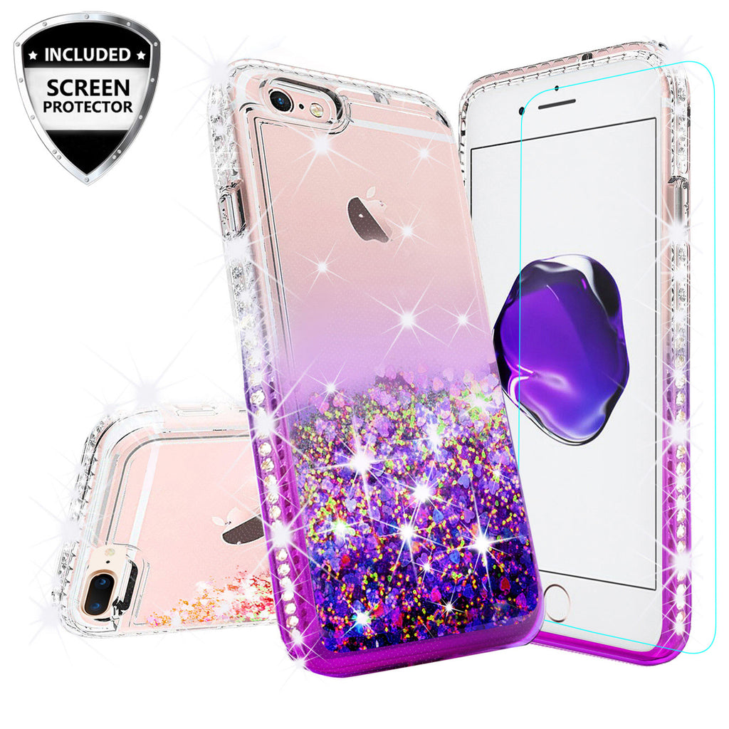 low priced 9cb19 6a545 Apple iPhone 8 Plus Case Liquid Glitter Phone Case Waterfall Floating  Quicksand Bling Sparkle Cute Protective Girls Women Cover for iPhone 8 Plus  - ...