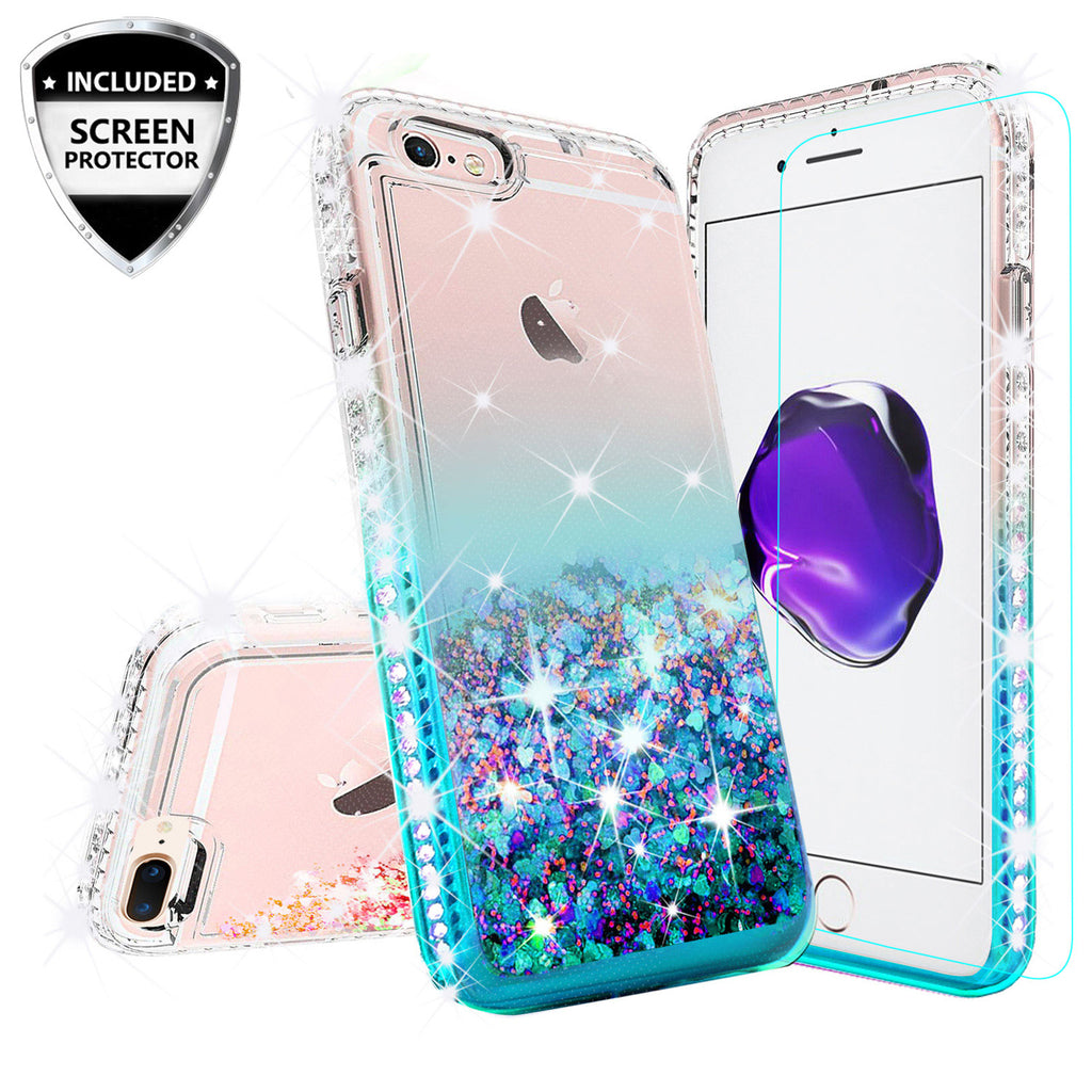 the best attitude 3c023 cb3a7 Apple iPhone 7 Plus Case Liquid Glitter Phone Case Waterfall Floating  Quicksand Bling Sparkle Cute Protective Girls Women Cover for iPhone 7 Plus  - ...